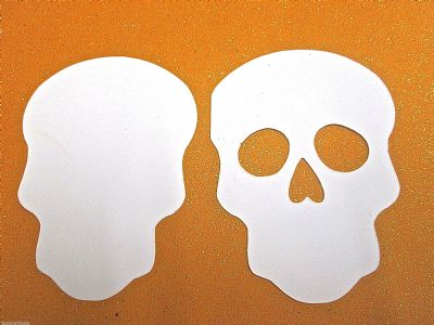 Skull  WHITE Die Cuts x 1 pair Day of the Dead Halloween